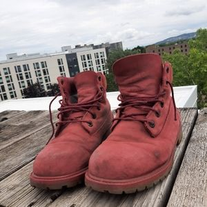 2 × $25 Timberland boots burgundy leather